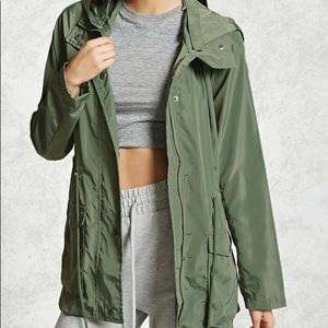 Forever 21 Sage Green Hooded Utility Jacket